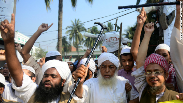Supporters of Islamic political parties shout slogans inside a madrasa during a nationwide strike in Dhaka on February 2.