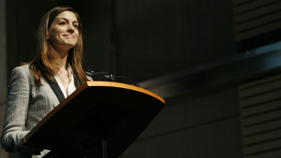 """Hathaway addresses the """"Adolescent Girls Initiative: Where We Are"""" event in Washington in October 2010."""