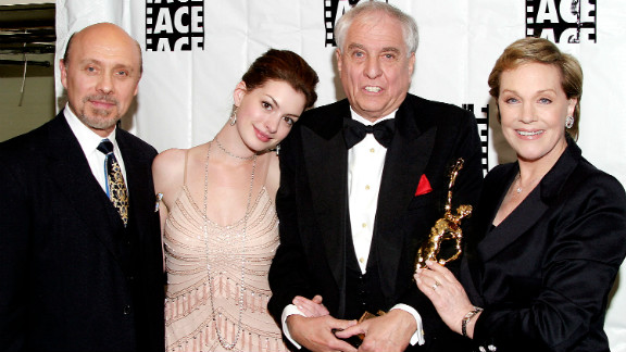 """Many fans discovered Hathaway in the 2001 Disney film """"The Princess Diaries."""" From left, Hector Elizondo, Hathaway, director Garry Marshall and Julie Andrews at the American Cinema Editors'  ACE Eddie Awards in 2004 in Beverly Hills, California."""