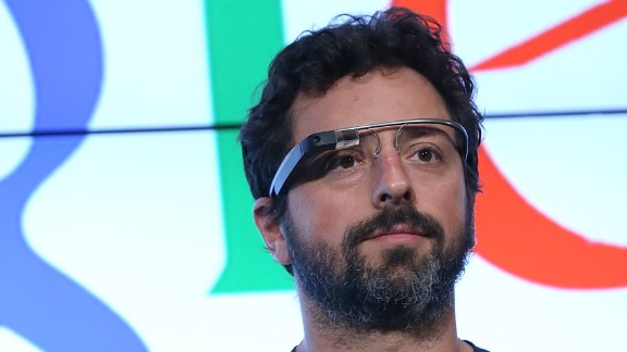 Google co-founder Sergey Brin models the connected headset, which isn't expected to go on sale until late this year.