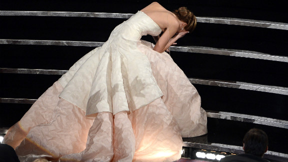 She's the only actress who could turn tripping while going up the stairs to accept an Academy Award into what looks like the perfect couture ad.