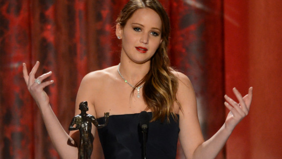 "Lawrence always seems to keep it genuine and fun with her acceptance speeches. Seen here receiving the award for outstanding performance by a female actor in a leading role for ""Silver Linings Playbook"" at the 2013 Screen Actors Guild Awards, she thanked SAG for the naked statue and called Harvey Weinstein a rascal."