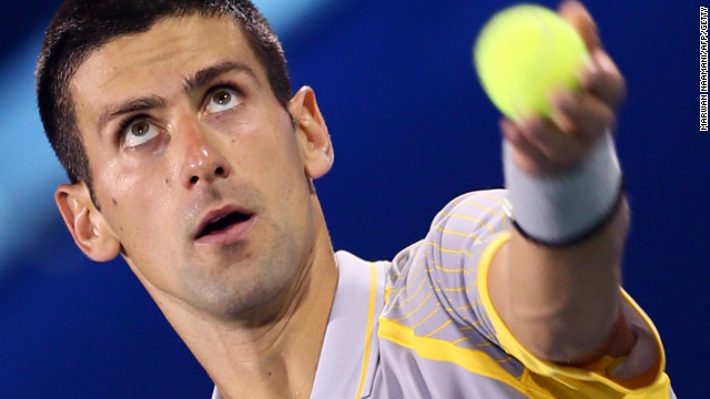 Novak Djokovic serves during his straight sets win over Andreas Seppi in the quarterfinals in Dubai.