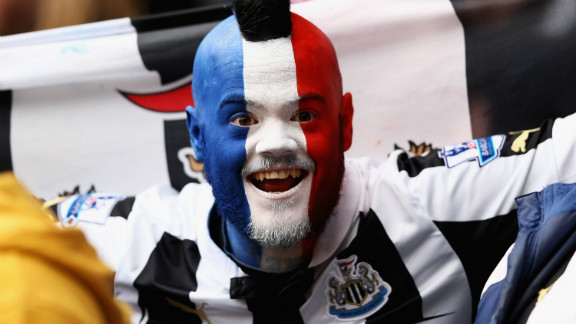 A Newcastle fan shows his support for the club