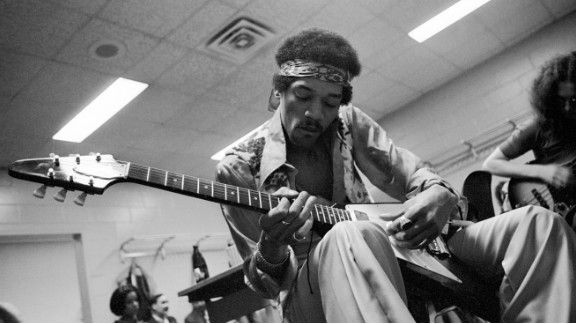 "Hendrix relaxes and jams with Noel Redding at Madison Square Garden in New York in 1969:  ""He often would rehearse quietly before going on stage with a small amp and his Flying V as it suited his style of playing the blues."" -- Eddie Kramer"