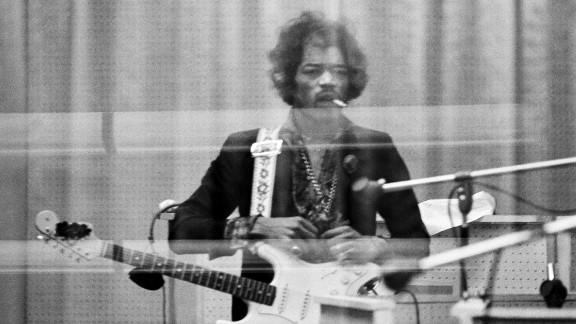 "Hendrix records at the Record Plant in New York in 1968: ""Jimi was very self-demanding and a perfectionist. So when he heard back this particular solo, he was understandably pissed off at the result. His expression reminds me of a gunslinger about to knock off his next opponent ... except that it would be Take 29 of the overdub solo!"" -- Eddie Kramer"