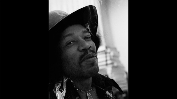 "Hendrix records ""Electric Ladyland"" at the Record Plant in 1968: ""Even though Jimi smoked grass he was never too stoned to work diligently and with tremendous focus on the task at hand.  He had just smoked a huge joint and was very happy and gave me a knowing smile, which I call the glint in the eye."" -- Eddie Kramer"
