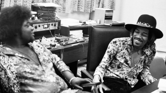"Hendrix and Buddy Miles at the Record Plant in New York in 1968: ""Jimi had a longstanding warm relationship with Buddy Miles. In this photo Jimi and Buddy can hardly contain their laughter. One of Jimi's most endearing traits was his amazing sense of humor. Even though it was at times self-deprecating, Mitch (Mitchell), Noel (Redding) and myself were often the butt of his jokes ... all in the desire to keep the sessions loose!"" -- Eddie Kramer"