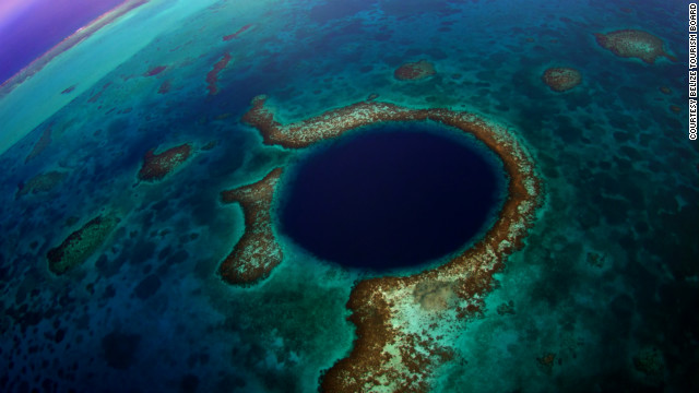 The Great Blue Hole is a massive underwater sinkhole that gives divers an almost perfect circle to dive in.