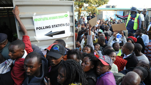 Kenyans in the Dandora neighborhood of Nairobi wait to vote at James Gichuru Primary School on March 4, 2013.