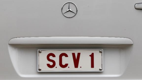 Pictured here is the detail of the Popemobile licence plate. According to the Vatican, the letters on the plate stand for