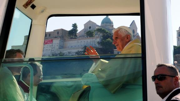This Popemobile (photographed in September 2011) is fitted with a religious image just above the pope