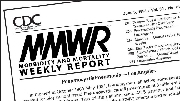 The first mention of HIV appeared in the CDC