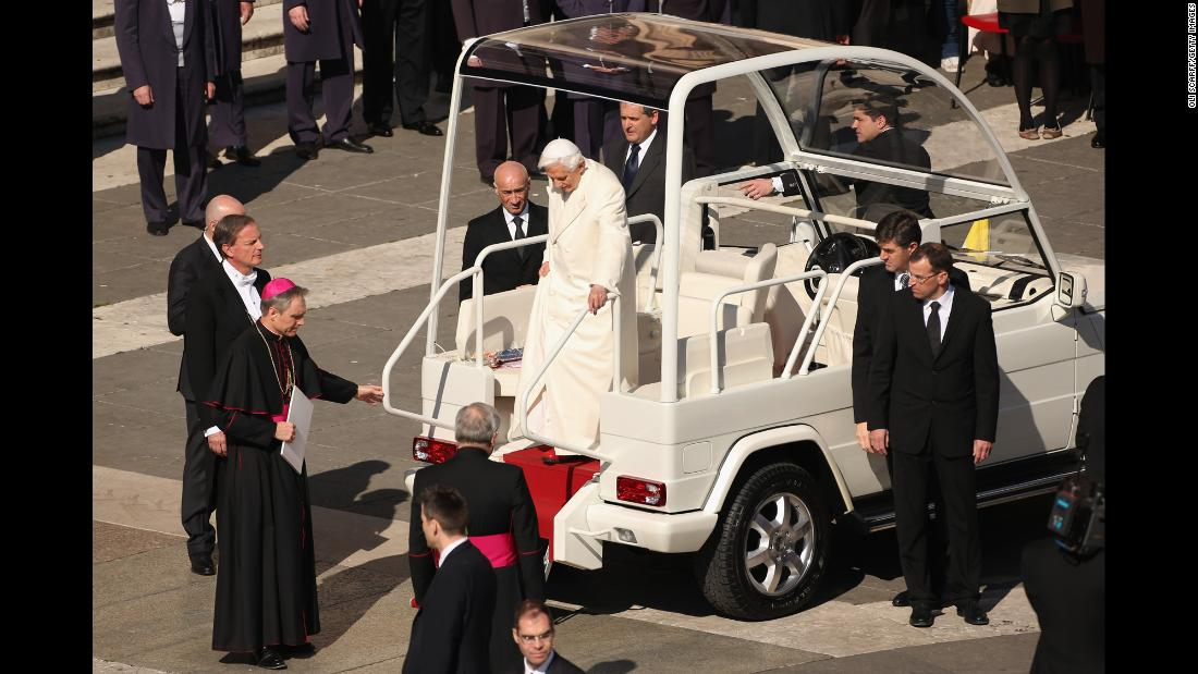 Benedict XVI disembarks the Popemobile in St. Peter's Square on February 27, 2013, the day before he stepped down as pope.