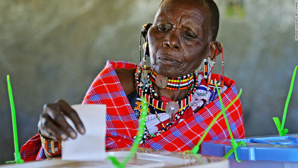 An elederly Maasai woman casts her vote in Ilngarooj, Kajiado County, Maasailand, on March 4, 2013.