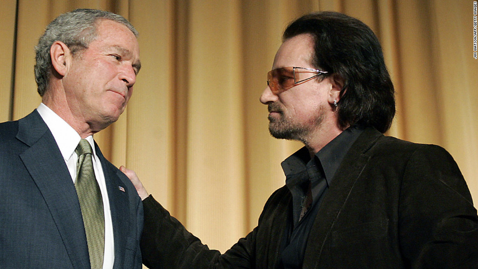 U2 frontman Bono, who was named the most politically effective celebrity of all time by the National Journal, has campaigned for third-world debt relief since 1999. In March 2002, he appeared next to President Bush for the unveiling of a $5 billion aid package for the world's poorest countries. Here, the two attend the National Prayer Breakfast in Washington in February 2006.