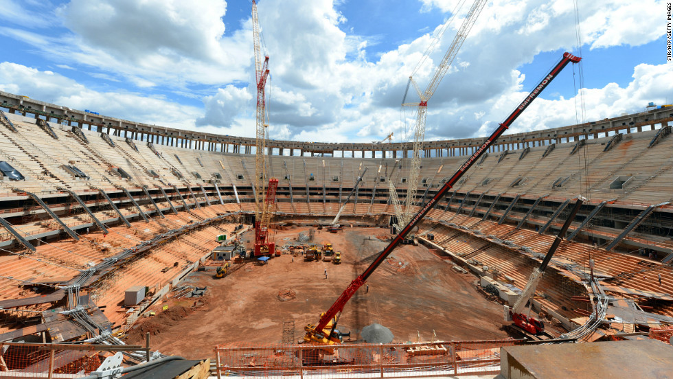 Brasilia's National Stadium under construction on December 13, 2012. The National Stadium will receive the first match of the eight-nation Confederations Cup matches on June 2013.