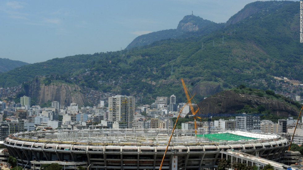Picture of the famed Maracana football stadium in Rio de Janeiro as renovation works for the 2014 World Cup -- including the construction of a roof -- gets under way. The Maracana is classified as a historic monument so the facade will be maintained but a roof will be added to the five-storey oval stadium.