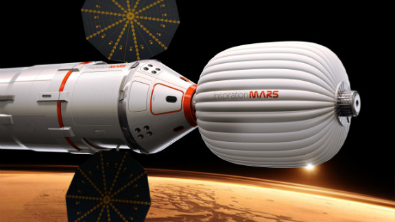 This is an illustration of the envisioned Inspiration Mars Foundation space capsule, which would launch in 2018.
