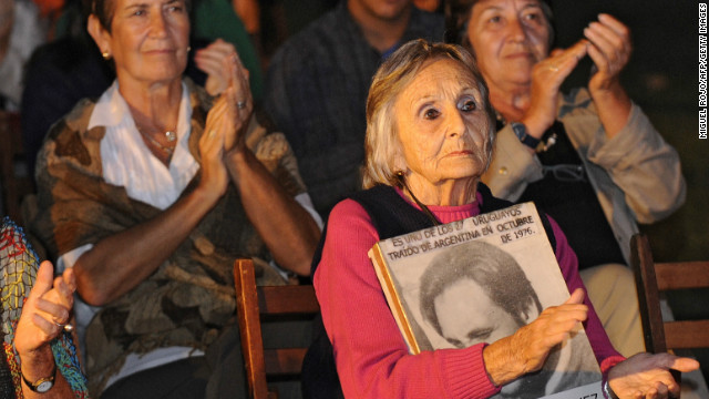 Relatives of victims during South American military regimes hear trial ruling at Argentine embassy, Montevideo, March 31, 2011.