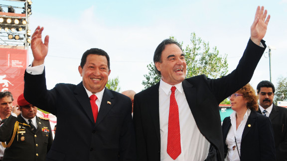 """Director Oliver Stone and Chavez attend the """"South of the Border"""" premiere during the 66th Venice Film Festival on September 7, 2009, in Venice, Italy."""
