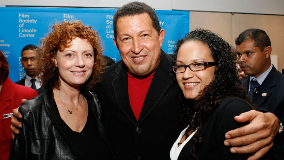 """Actress Susan Sarandon poses for a picture with Chavez and his daughter, Rosa, at the afterparty of the """"South of the Border"""" premiere in New York on September 23, 2009."""
