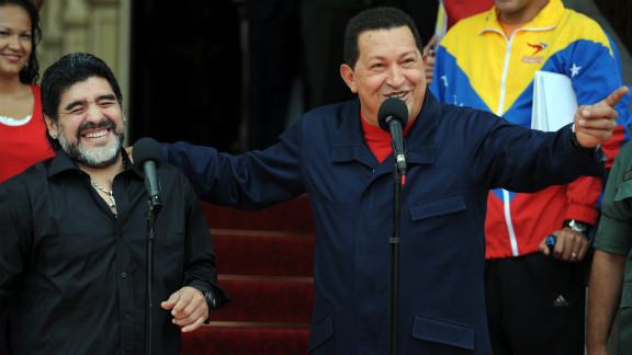 Argentine soccer legend Diego Maradona shares a laugh with Chavez at a press conference in Caracas on July 22, 2010.
