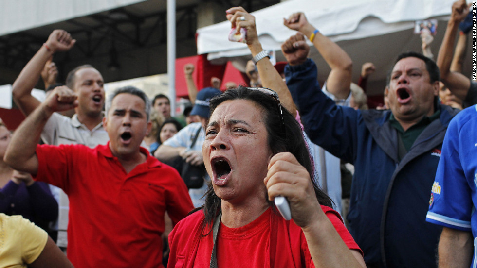Venezuelans shout in the streets of the capital on March 5.