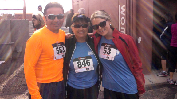 Rae Timme scheduled a 5K race and ran it with her daughter Lacee and co-worker Angel Medina.