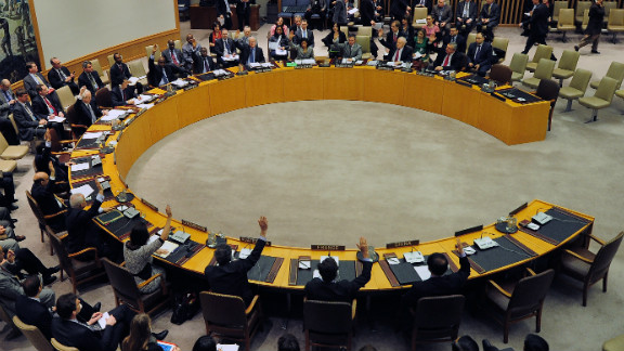 UN Security Council members vote to adopt sanctions against North Korea in 2013.