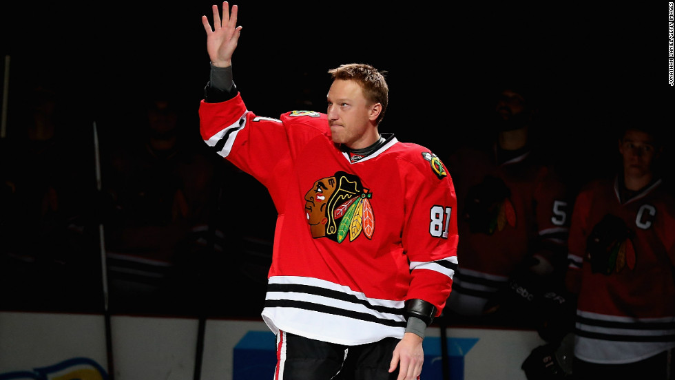 Marian Hossa was honored Tuesday at a ceremony honoring his 1,000th career game.