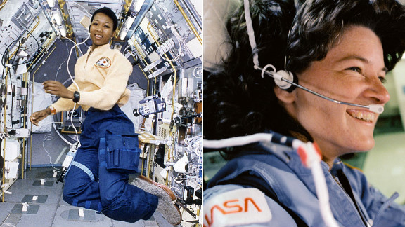 American physician and former NASA astronaut Mae Carol Jemison, left, became the first black woman to travel in space in 1992.  As an astronaut, Jemison served as a liaison between the astronaut corps and launch operations at Kennedy Space Center, according to her biography. She also flew aboard the Space Shuttle Endeavour  in the first joint mission with the Japanese Space Agency. Fellow astronaut Sally Ride, right, helped pave the way for Jemison's career: In 1983, she flew to space aboard the Space Shuttle Challenger, becoming the first American woman (and, at 32, the youngest American) to enter space. She flew on Challenger again in 1984 and later was the only person to serve on both panels that investigated the nation's space shuttle disasters in 1986 and 2003. Ride died in December 2012.