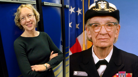 "Grace Murray Hopper, an American computer scientist and U.S. Navy Rear Admiral (right), created Common Business-Oriented Language (COBOL.) She also coined the term ""debugging"" in reference to fixing a computer.  Hopper paved the way for other females in computer science, including University of California at Berkeley Professor Katherine Yelick.  She is the co-author of two books and more than 100 technical papers on parallel languages, compilers, algorithms, libraries, architecture, and storage. She led the National Energy Research Scientific Computing Center from 2008 to 2012 -- a high-performance computing facility that helps scientists run tests. One of the computers in the facility is named after Hopper."