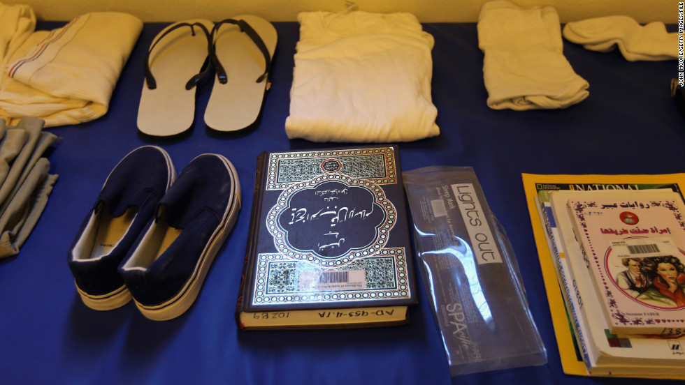 A Quran sits among a display of items issued to detainees in September 2010. The suspects are given a prayer mat and a copy of the Muslim holy book as well as a toothbrush, soap, shampoo and clothing.