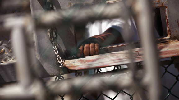A detainee waits for lunch in September 2010. The cost of building Guantanamo's high-security detention facilities was reportedly about $54 million.