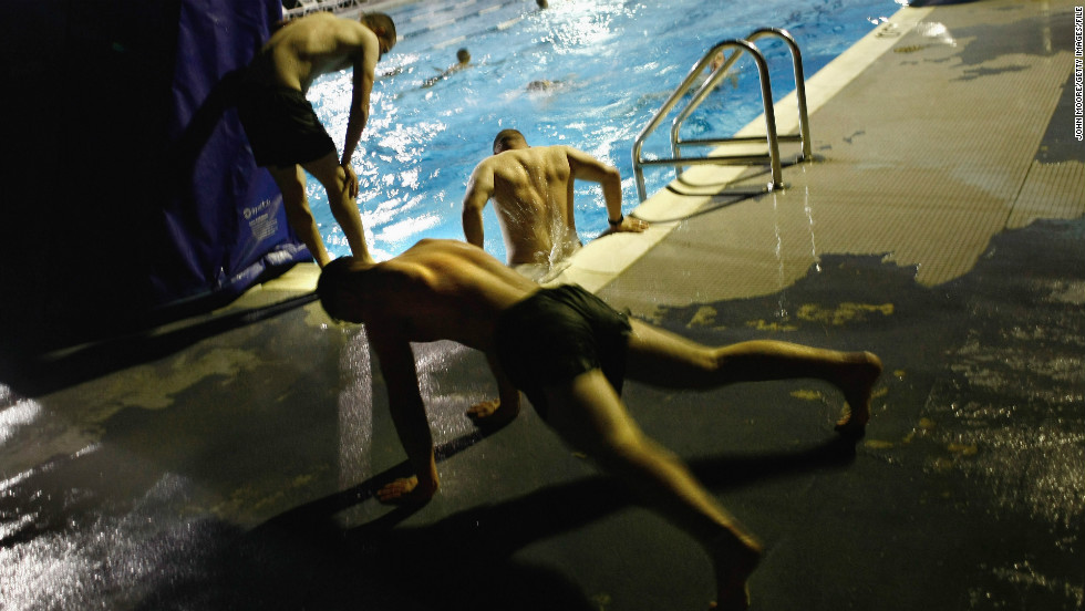 Marines get an early morning workout in October 2009.