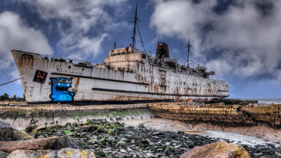 Former cruise liner, the Duke of Lancaster, was docked on the banks of the Dee Estuary in north Wales three decades ago. It has now become a canvas for graffiti artists from across Europe.