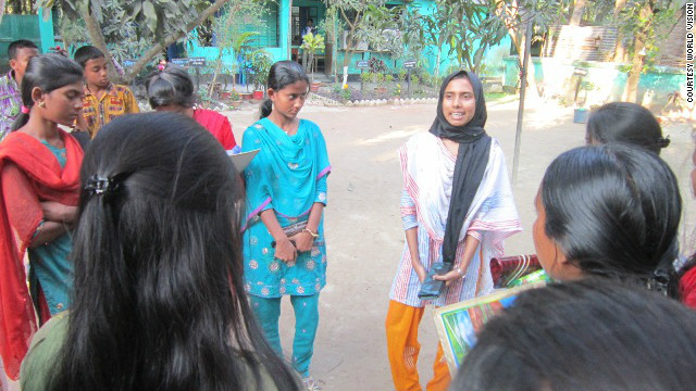 Humaiya Akhter, 16, works with young girls in the Joypurat district of Bangladesh, as part of World Vision's Child Forum, to raise awareness about the damaging effects of child marriage.