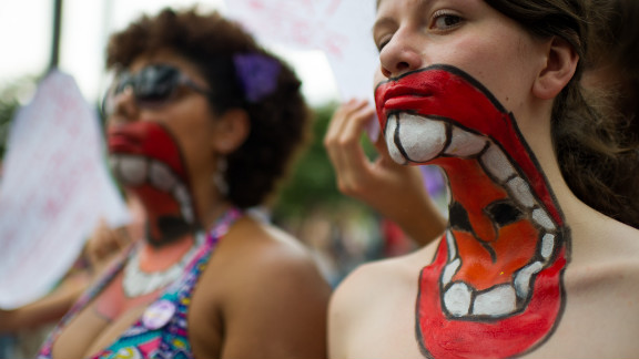 In Sao Paulo, Brazil, women protest  violence towards women, on International Women