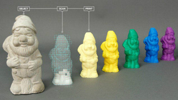 MakerBot released this image of small gnome sculptures that can be scanned and printed with its products.
