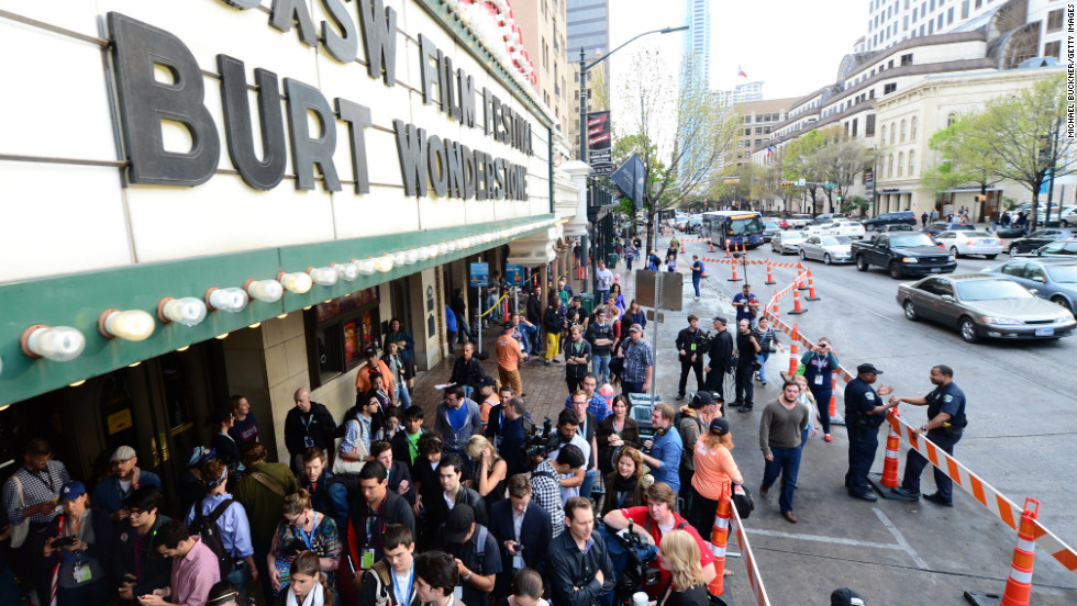 "Fans line up for a screening of ""The Incredible Burt Wonderstone"" on Friday, March 8."