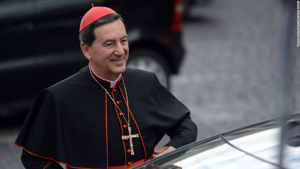 Cardinal Ruben Salazar Gomez of Colombia arrives for a meeting on March 9.