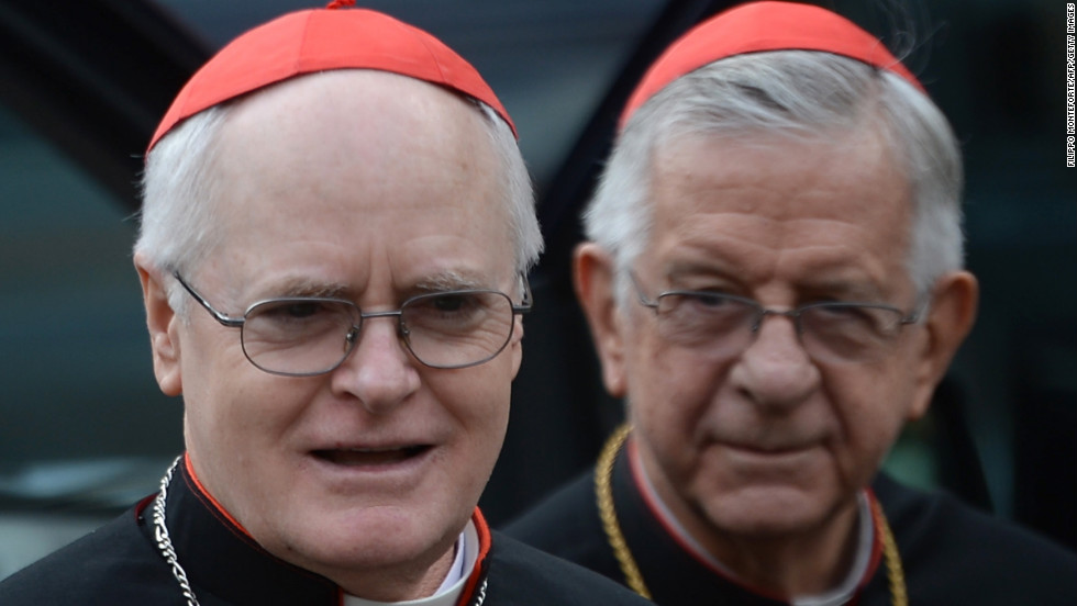 Cardinals Odilo Scherrer (left) of Brazil and Geraldo Agnelo of Italy arrive for a meeting at the Vatican on March 9.