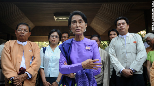 Aung San Suu Kyi speaks during the National League for Democracy's party conference in Yangon on Saturday.