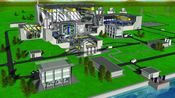 A CGI of how fusion power plants of the future might be laid out. For more details on fusion power visit the Culham Center for Fusion Energy.
