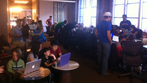Participants at a CoderDojo in San Francisco. The movement has gone global, with clubs operating in 22 countries, introducing coding to more than 10,000 children aged 10-14, says Whelton.
