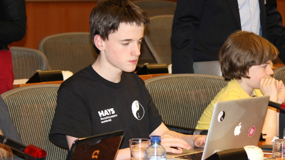"""In keeping with the CoderDojo ethos, Moran (pictured) is already passing on his knowledge of coding to other members of the group. CoderDojo operates with only one rule, """"Above all, be cool"""" -- meaning that bullying, lying and time-wasting are unacceptable."""