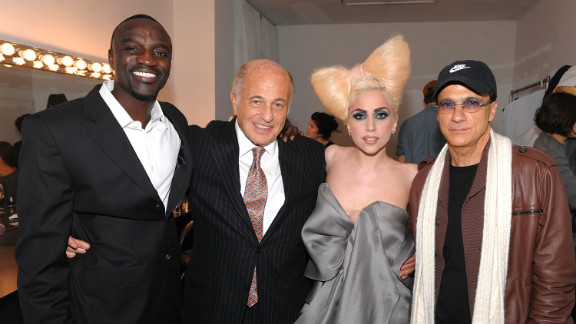 """In 2007 Lady Gaga was signed by Akon and Interscope Records before the release of her 2008 debut album, """"The Fame."""" Pictured: Akon, Doug Morris (chairman and CEO of UMG), Lady Gaga and Jimmy Iovine (chairman of Interscope Geffen A&M), in December 2009, New York."""