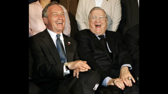 Yankees owner George Steinbrenner shares a laugh with Bloomberg during a news conference in June 2005 announcing plans for a new $800 million stadium.