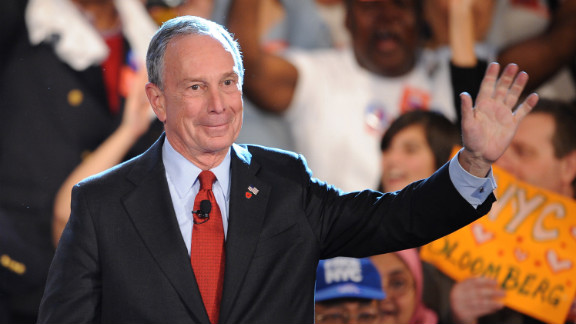 Bloomberg celebrates winning a third term as mayor in November 2009.
